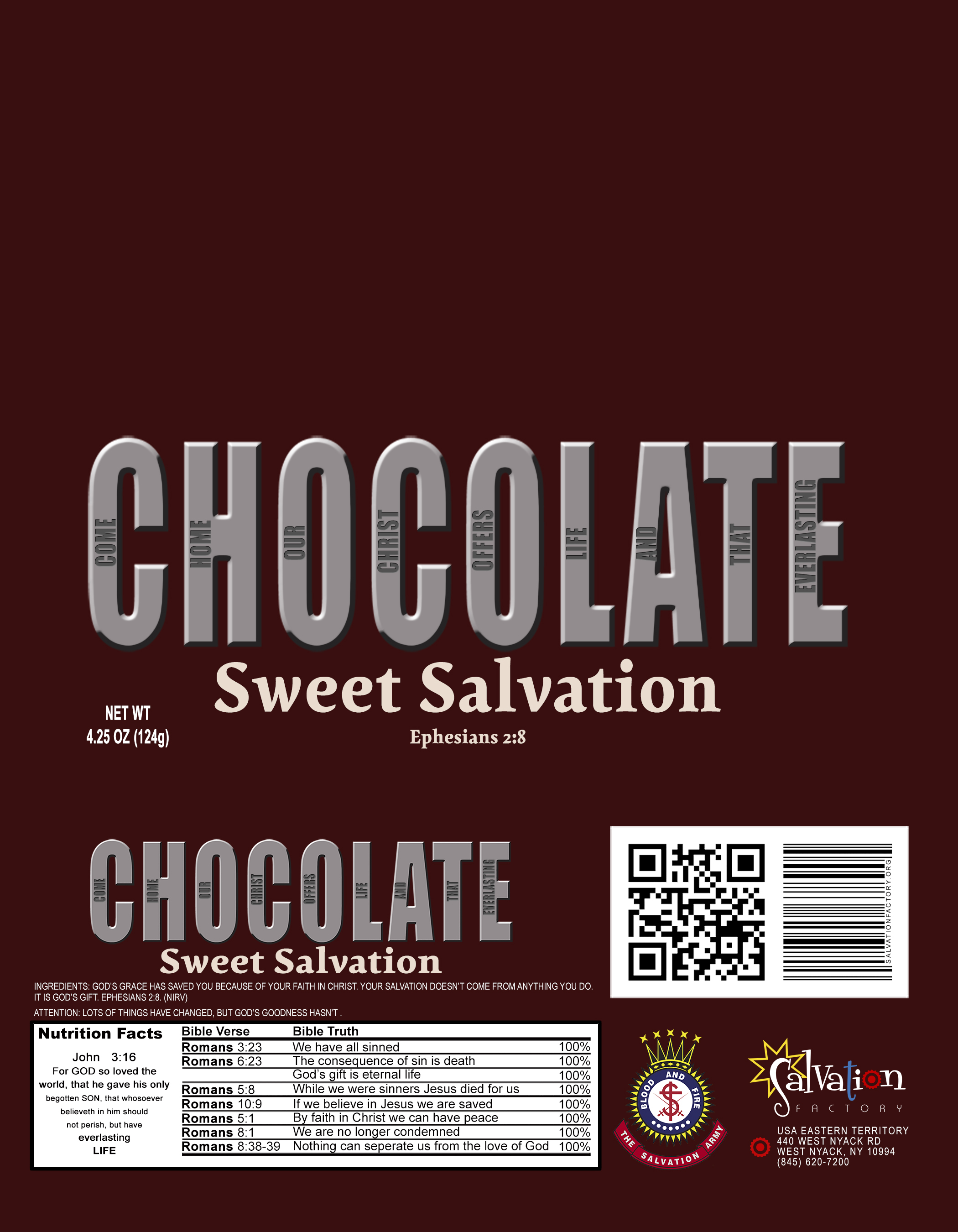 Evangelistic Chocolate Bar Wrapper Salvation Factory